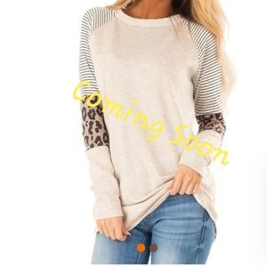 Striped and leopard print top